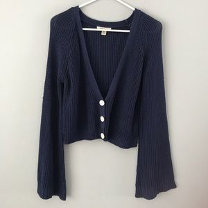 Cozy/Casual navy crop button cardigan flare sleeve